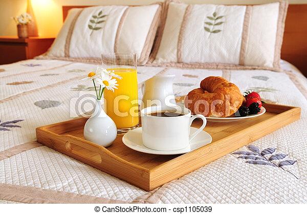 朝食, ホテルの部屋, ベッド - csp1105039
