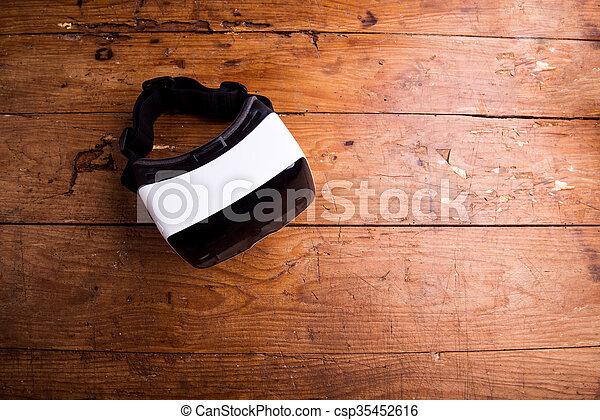 木制, 向上, 虛擬現實, 風鏡, 關閉, 桌子 - csp35452616