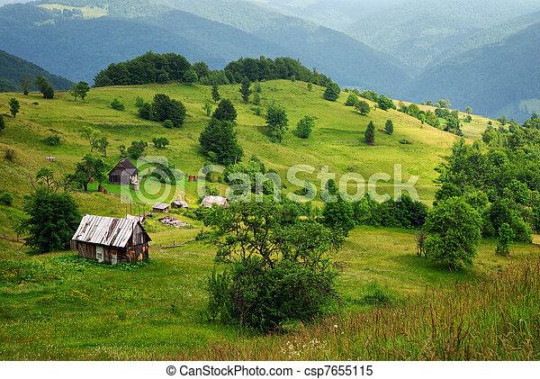 木制, 山谷, 房子 - csp7655115