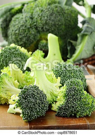 木制, 新鮮, 板, broccoli - csp8978651