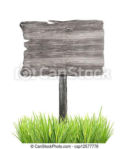 木制, 被隔离, 簽署, 草, 背景, 白色, 空 - csp12577776