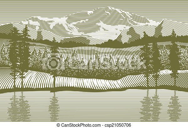 木刻, 荒野 - csp21050706