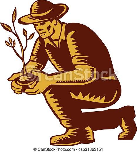 木植わること, 農夫, 木版, 有機体である, linocut - csp31363151