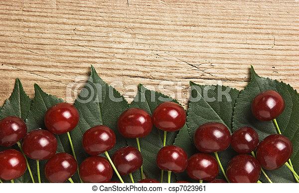 木製である, さくらんぼ, 葉, ベリー, 背景 - csp7023961