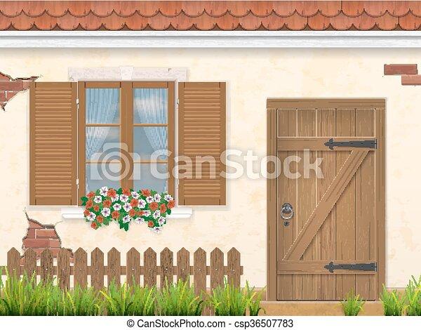 木製である, ファサド, ドア, 古い, 壁, 窓 - csp36507783
