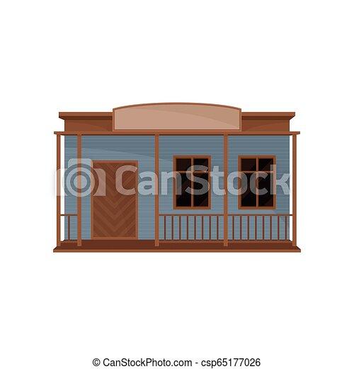 木製である, ファサド, ベクトル, ブランク, 小さい家, signboard., 古い, 西部, 建物。, 平ら, theme., アイコン, 建築 - csp65177026