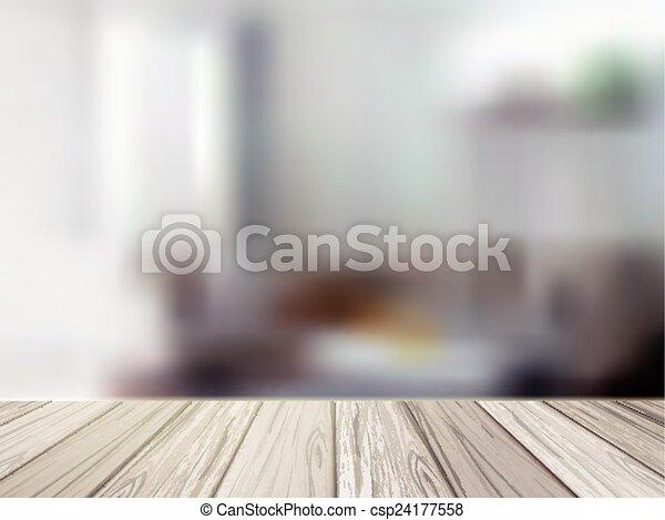 木製である, 上に, 現場, ぼんやりさせられた, テーブル, 台所 - csp24177558