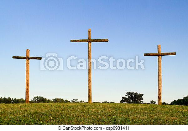 木製である, 十字, 3, 丘 - csp6931411