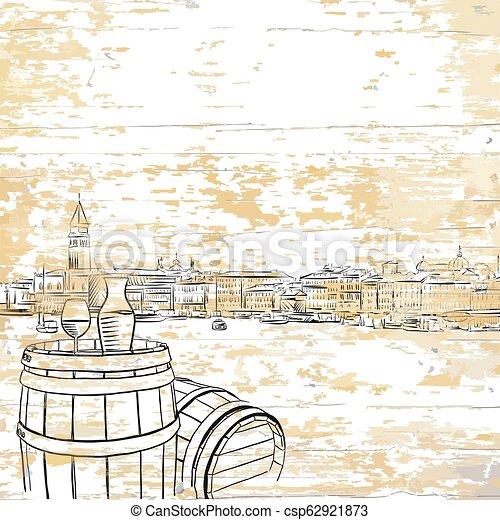 木製である, 型, 樽, 背景, ワイン - csp62921873