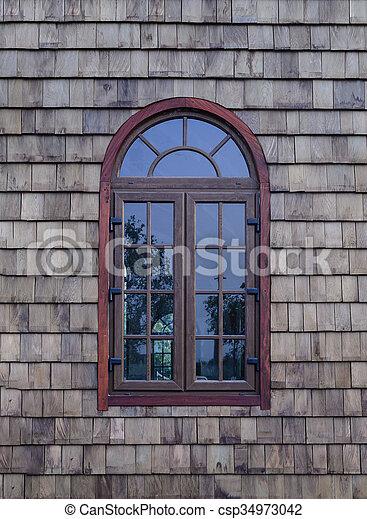 木製である, 型, 窓, wall. - csp34973042