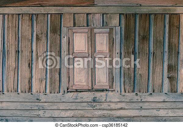 木製である, 型, 窓, wall. - csp36185142