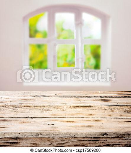 木製である, 無作法, 空, きれいにしなさい, テーブル, scrubbed, 台所 - csp17589200