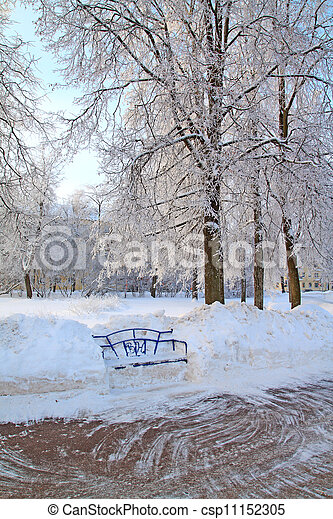 木製である, 町, 公園のベンチ - csp11152305