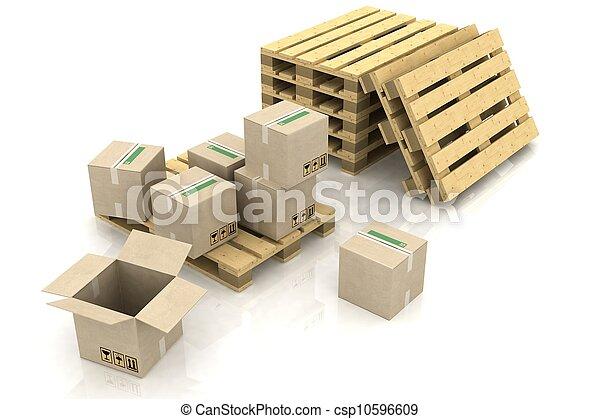 木製である, 箱, ボール紙, パレット - csp10596609