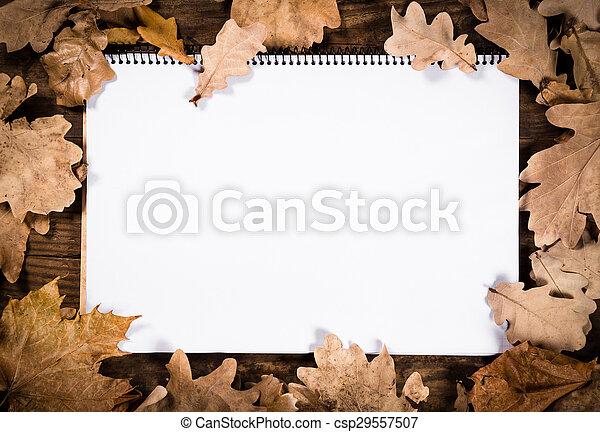 木製である, 葉, ノート, 背景 - csp29557507