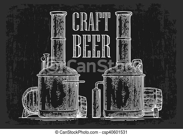木製である, beer., タンク, 樽, 醸造所, 横列 - csp40601531