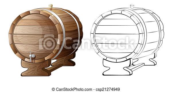 木製の樽, 隔離された, イラスト - csp21274949