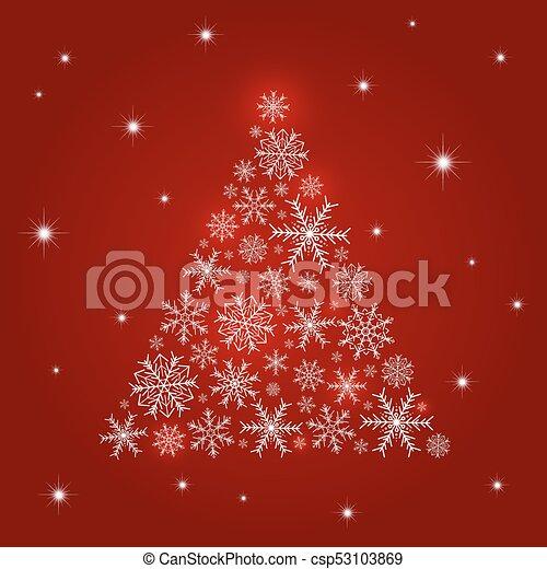 木, イラスト, クリスマス, ベクトル, デザイン, 背景, 雪片, 赤 - csp53103869