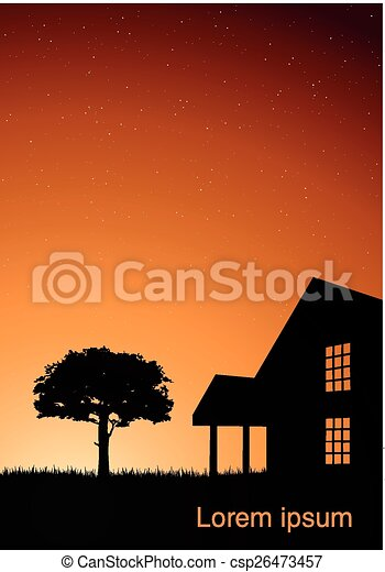 木, イラスト, 家 - csp26473457