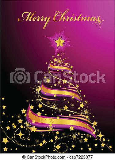 木, クリスマス, 照ること - csp7223077