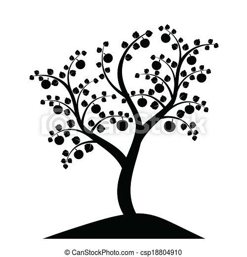 木, シルエット, アップル - csp18804910