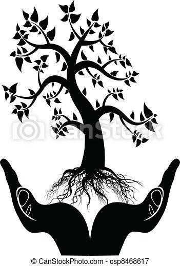 木, シルエット, 手 - csp8468617