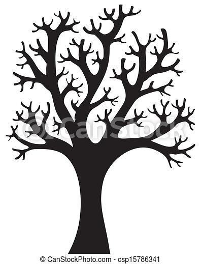 木, シルエット, 4, 形づくられた - csp15786341