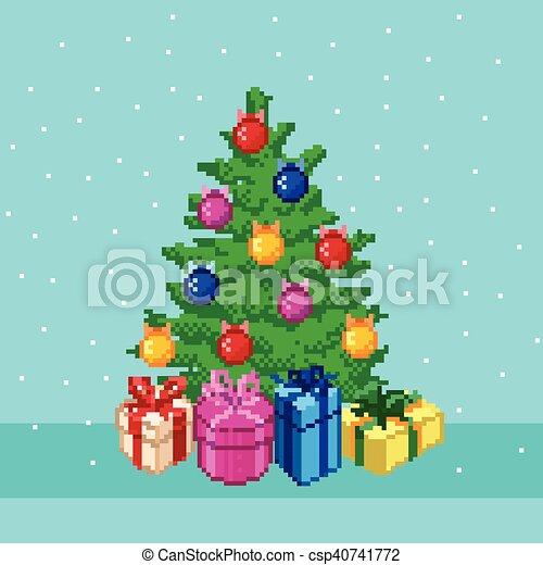 木。, ピクセル, クリスマス - csp40741772