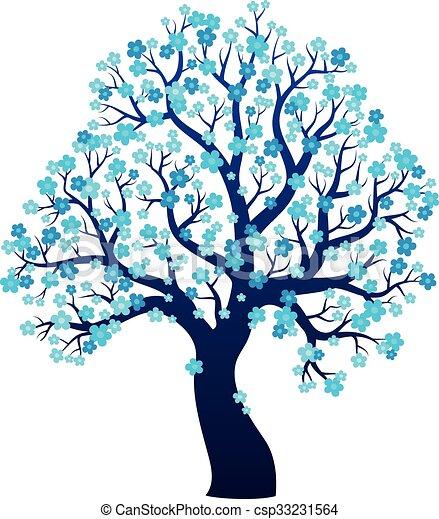 木, 主題, 2, シルエット, 咲く - csp33231564