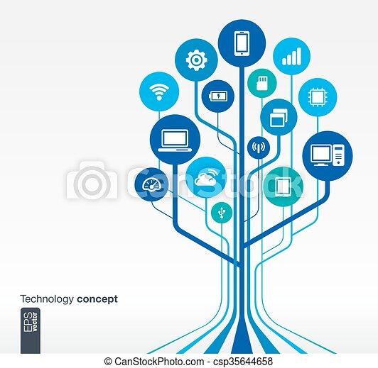 木, 成長, 技術, 回路, 概念 - csp35644658