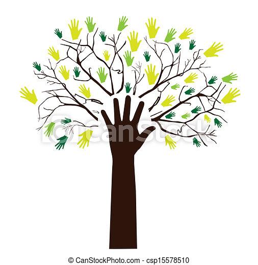 木, 手 - csp15578510