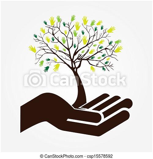 木, 手 - csp15578592