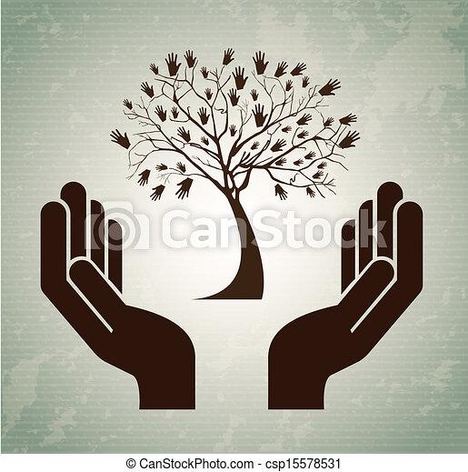 木, 手 - csp15578531