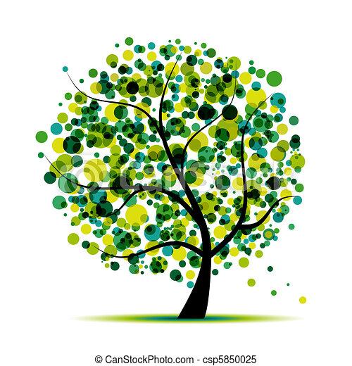木, 抽象的, あなたの, 緑, デザイン - csp5850025