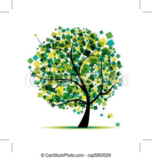 木, 抽象的, あなたの, 緑, デザイン - csp5850029