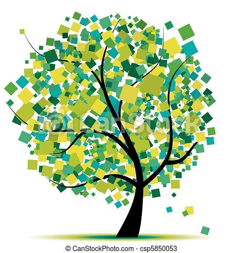 木, 抽象的, あなたの, 緑, デザイン - csp5850053