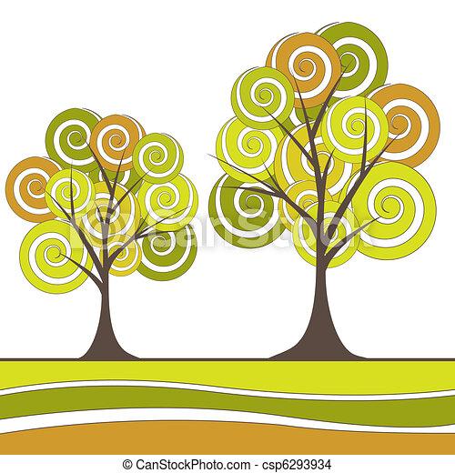 木, 抽象的, ベクトル, flowers., イラスト - csp6293934