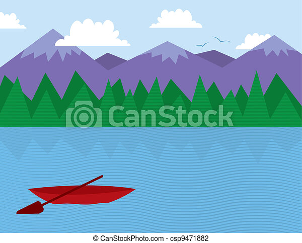 木, 湖, 山 - csp9471882