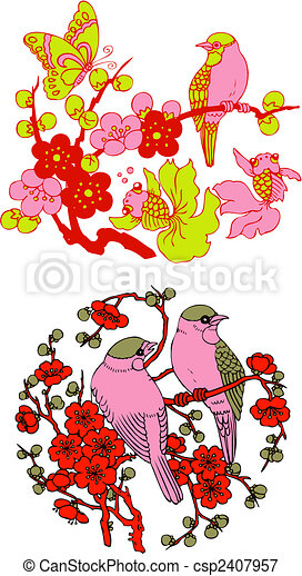 木, 紋章, 鳥, 中国語, クラシック - csp2407957