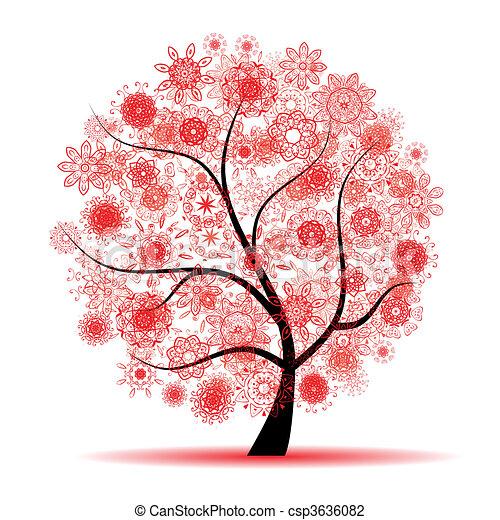 木, 美しい, 花 - csp3636082