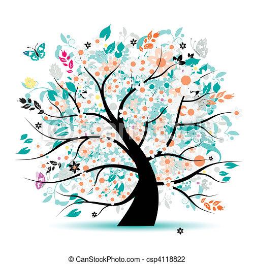 木, 美しい, 花 - csp4118822