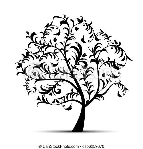 木, 黒, 芸術, 美しい, シルエット - csp6259670