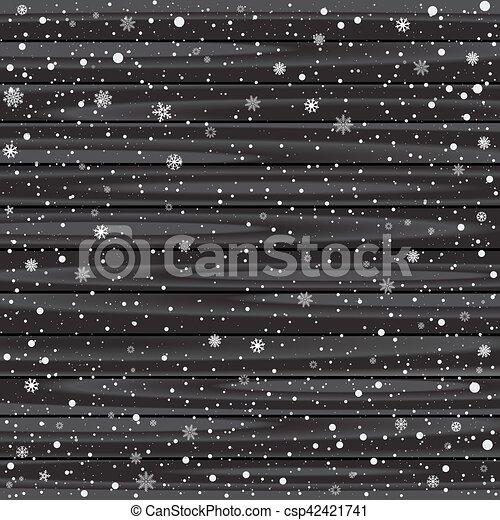 木, 黒, 雪, 背景 - csp42421741