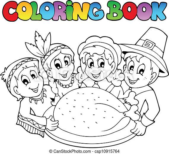 本, イメージ, 着色, 3, 感謝祭 - csp10915764