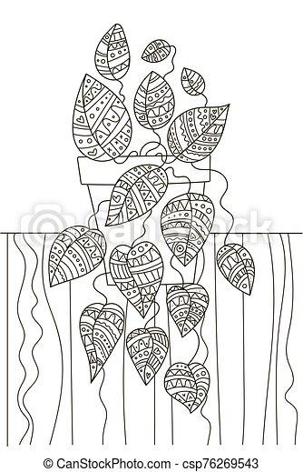 本, パターン, 家, antistress, 図画, 生活, 装飾, adults., 小さい, plant., 着色, 子供, creativity., 手, 詳細, まだ, 美しい - csp76269543