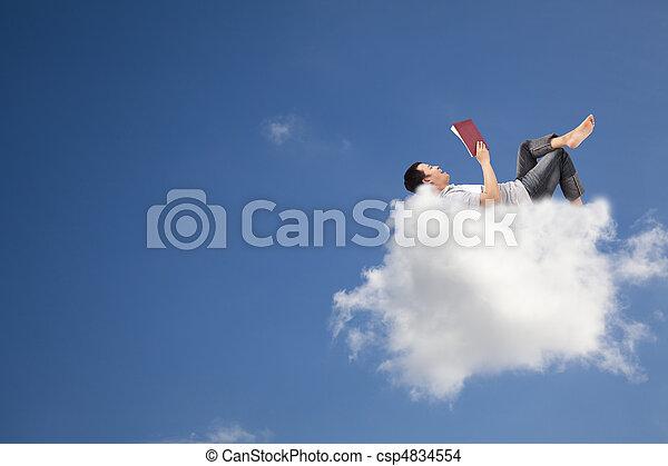 本, 読書, 雲, リラックスしなさい - csp4834554