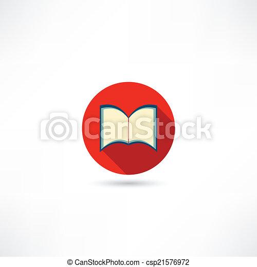 本, 開いた, アイコン - csp21576972