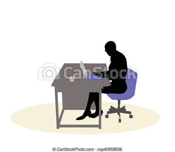 机, 女性ビジネス, モデル - csp40958836