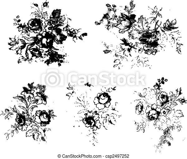 材料, グランジ, 花, clipart - csp2497252