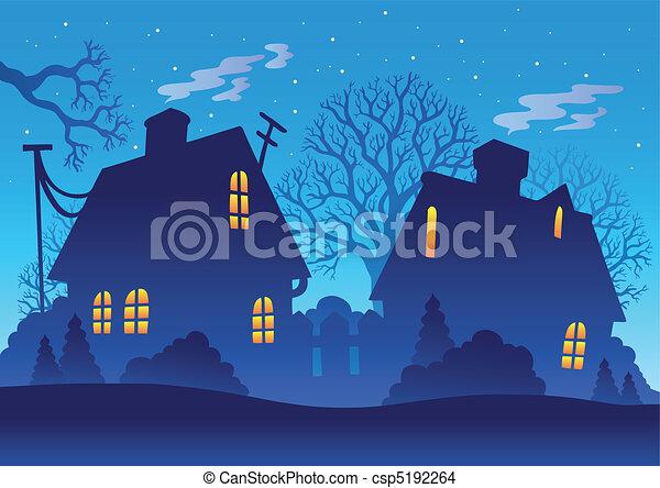 村, シルエット, 夜 - csp5192264